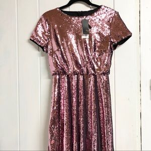 NWT TFNC Pink Sequin Thea Mini Skater Dress